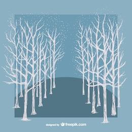 Vector árboles blancos de invierno