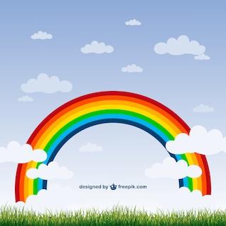 Vector arcoiris y nubes