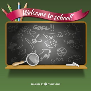 Vector bienvenidos a la escuela con pizarra