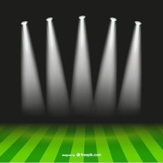 Vector campo de fútbol y focos