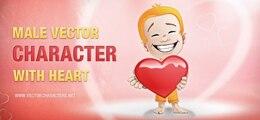 vector carácter masculino con un corazón