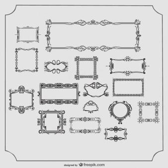 Vector colección de marcos antiguos