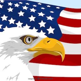 Vector de águila y bandera de Estados Unidos
