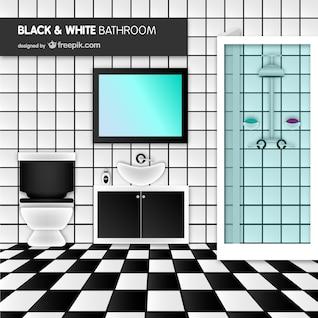 Vector de baño blanco y negro