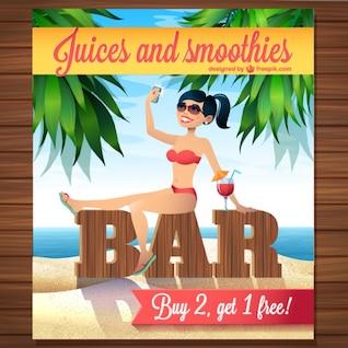 Vector de bar con zumos y smoothies