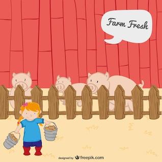 Vector de cerdos en la granja
