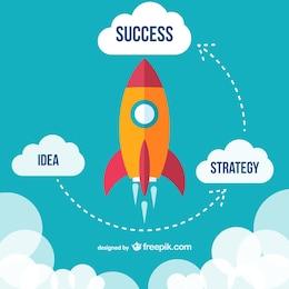 Vector de cohete con diagrama para el éxito