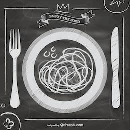 Vector de comida italiana en pizarra