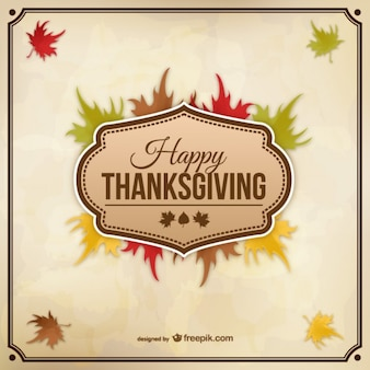 Vector de feliz Acción de Gracias con hojas de otoño