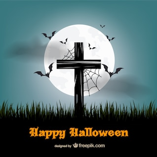 Vector de feliz Halloween con cruz