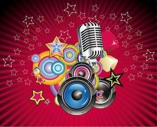 vector de fondo la música con el altavoz y el micrófono