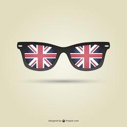 Vector de gafas con bandera del Reino Unido