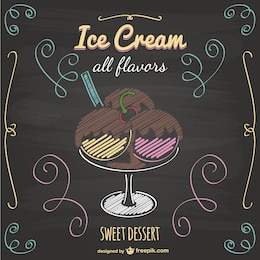 Vector de helados estilo pizarra