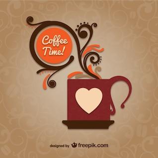 Vector de hora del café con taza