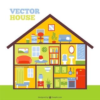 Vector de interior de casa