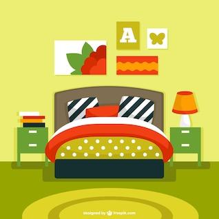 Vector de interior de dormitorio