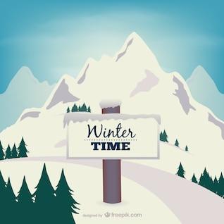 Vector de invierno con montaña
