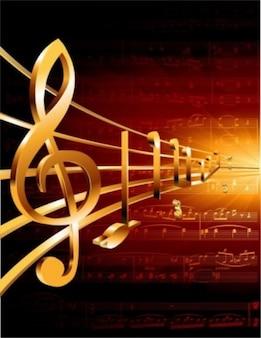 Vector de la música dorado