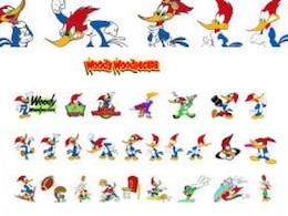 vector de madera pájaro carpintero de dibujos animados