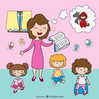 Vector de maestra con niños