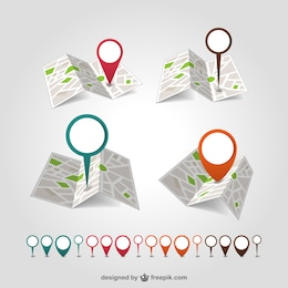 Vector de mapas con marcadores
