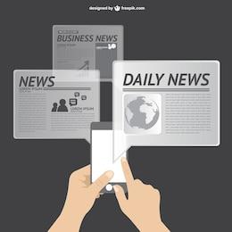 Vector de noticias en línea