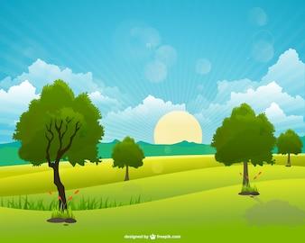 Vector de paisaje con nubes