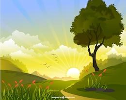 Vector de paisaje con sol
