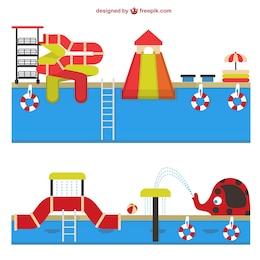 Vector de parque acuático
