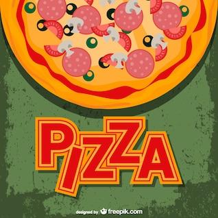 Vector de pizza con rótulo