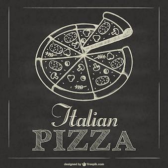 Vector de pizza italiana estilo pizarra