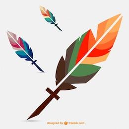 Vector de plumas de colores
