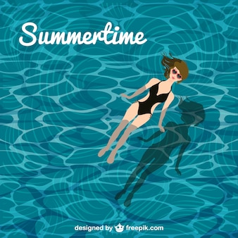 Vector de verano con chica en piscina