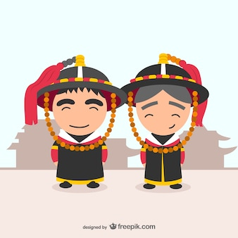 Vector de vestidos tradicionales coreanos