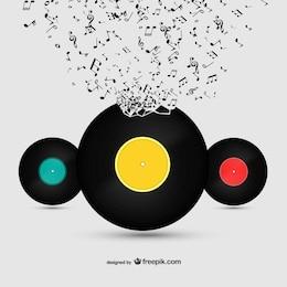 Vector de vinilos y música