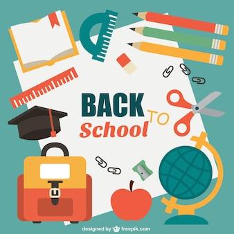 Vector de vuelta a la escuela con material escolar