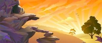 Vector del paisaje de la puesta del sol