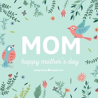 vector día de la madre con pájaros
