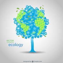Vector día de la Tierra planeta con forma de árbol
