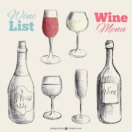 Vector dibujado a mano carta de vinos
