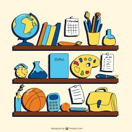 Vector dibujos de objetos escolares
