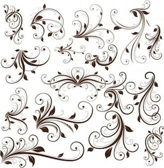 Vector elementos de diseño floral de color marrón con estilo