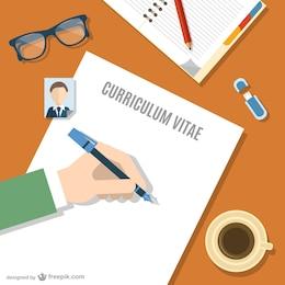 Vector escribiendo currículum vitae