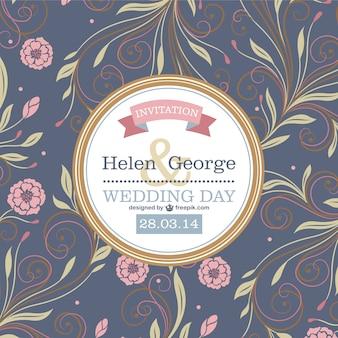 Invitación de boda con flores vintage