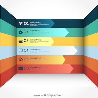 Infografía 3D con etiquetas en forma de flecha