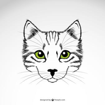Vector gato con ojos verdes