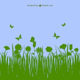 Vector hierba y mariposas