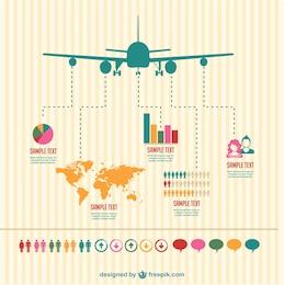 Vector infografía de viajes en avión