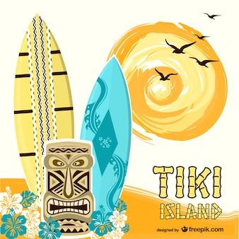 Vector isla Tiki