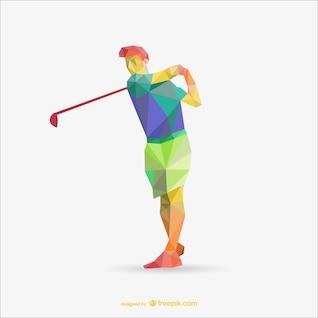 Vector jugador de golf poligonal